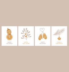 Set holiday cards with and congratulatory vector