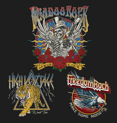 set vintage rock concert style t-shirt designs vector image