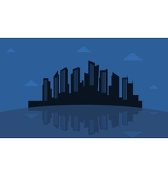Silhouette of reflection city vector