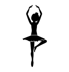 Silhouette with dancer pirouette fifth position vector
