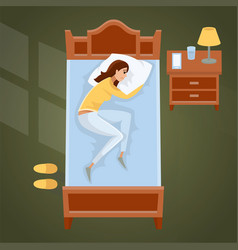 Sleeping young woman at home vector