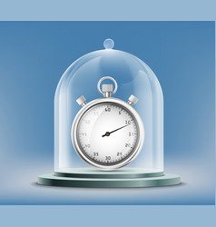 Sports stopwatch or watch under a glass dome vector