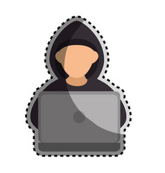 Sticker color silhouette with hacker faceless and vector
