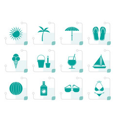 stylized summer holiday and beach objects vector image
