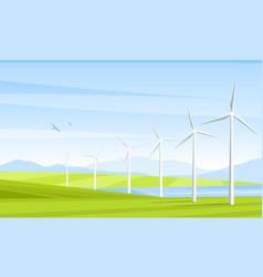 summer landscape and windmill elements vector image
