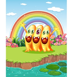 Three monsters near the pond vector
