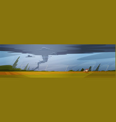 tornado in countryside hurricane landscape of vector image