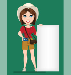 Tourist woman traveler standing near blank banner vector