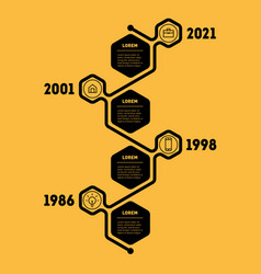 vertical timeline or infographic with 4 sectors vector image