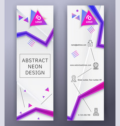 Vertical white banners with neon blue pink vector