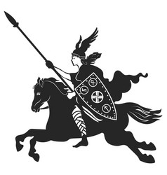viking design valkyrie on a warhorse vector image