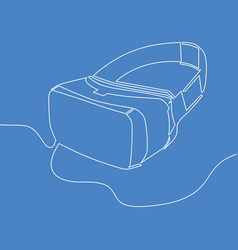 virtual reality headset one line style vr glasses vector image