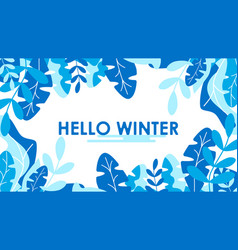 winter leaves background template vector image