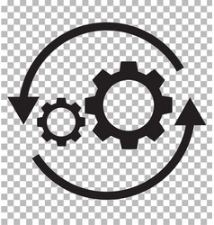 Workflow icon on transparent flat style gear and vector