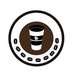 Color circular frame with glass of cappuccino vector