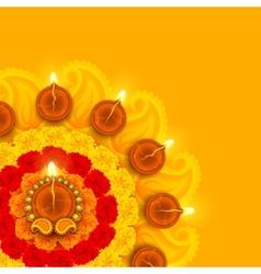 Decorated Diwali Diya on Flower Rangoli vector image