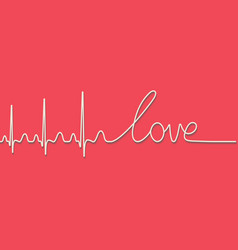 heartbeat pulse text word love calligraphic line vector image