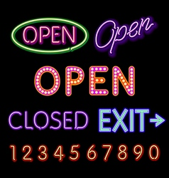 Open Neon Sign closed exit figures vector image