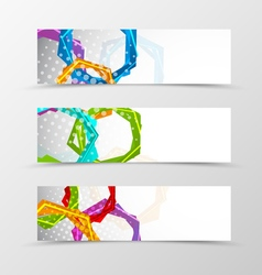 Set of header banner hexagons design vector image vector image