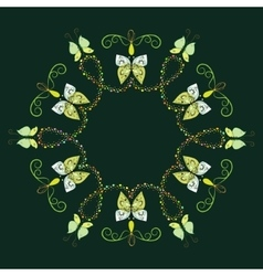 Decorative frame from abstract butterflies vector image