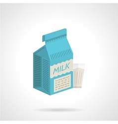 Milk blue pack flat color icon vector image vector image