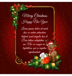 Red Christmas card with Golden frame for your text vector image vector image