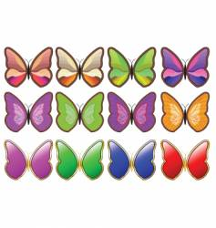 butterfly icons vector image vector image