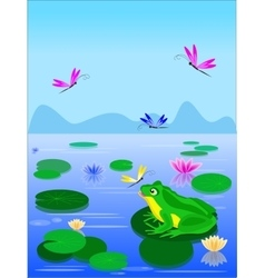 Cartoon green frog sitting on a lily leaf vector image