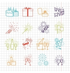 Celebration line icons with drinks garland and vector image vector image