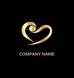 gold love abstract heart logo vector image