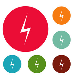 lightning icons circle set vector image