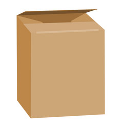 opened brown rectangle box mockup realistic style vector image
