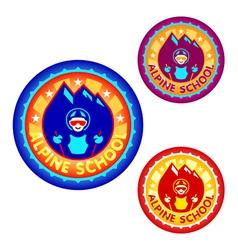 Alpine skiing school symbol vector image