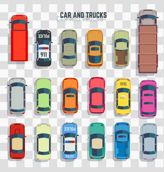 cars and trucks top view vector image vector image