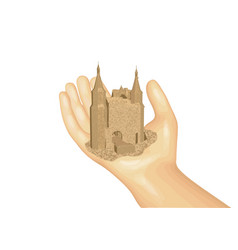 castle on the hand vector image vector image