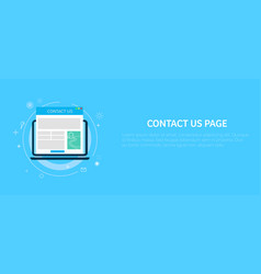contact us page in computer banner vector image