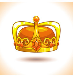 fancy cartoon golden crown icon vector image