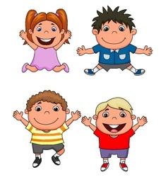 Happy kids cartoon set vector image