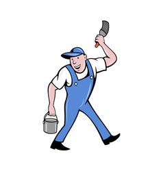 House painter with paintbrush and paint can vector image vector image