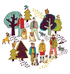 People and pets walking in park color on white vector image