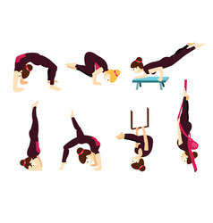 set with beautiful woman in various poses of yoga vector image vector image