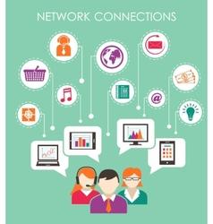 Social network connection concept vector