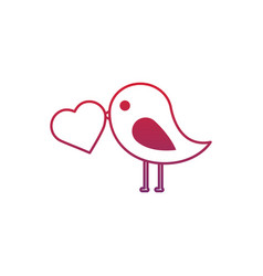valentines day bird with heart in beak lovely vector image vector image