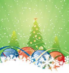 winter green trees vector image