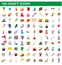 100 craft icons set cartoon style vector image
