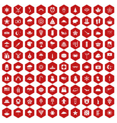 100 star icons hexagon red vector