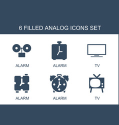 6 analog icons vector