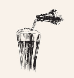 a stream beer bottle and glass hand drawn vector image