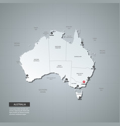 administrative map australia with 3d style vector image