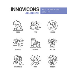 allergens - line design style icons set vector image
